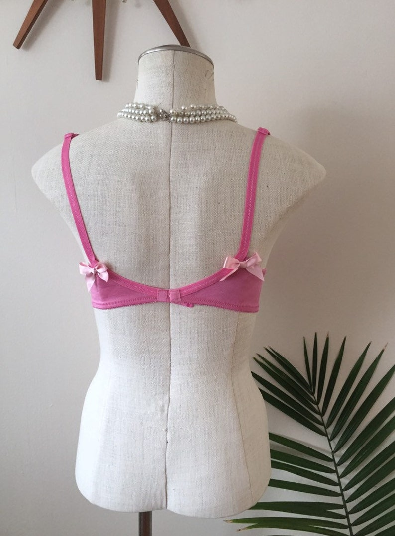 satin and lace YVA vintage pink balconette bra delicate pinup lingerie 1960s 1970s