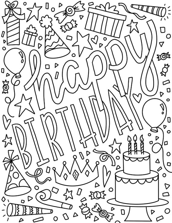 Happy Birthday Coloring Page  Instant Download  Birthday