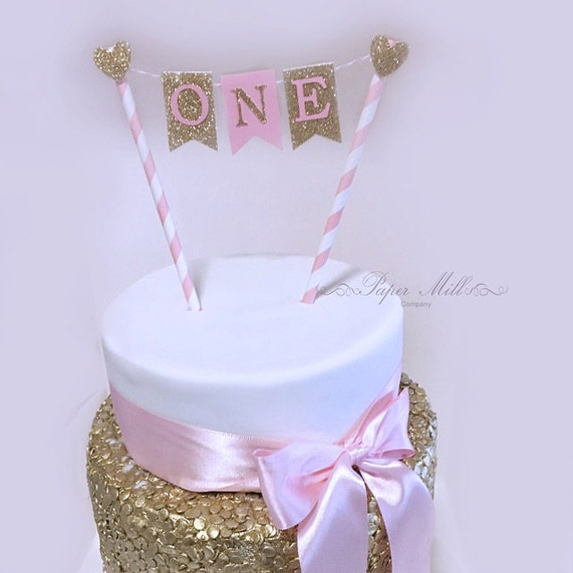 Pink Gold Glitter One Cake Bunting Topper Sale First Etsy