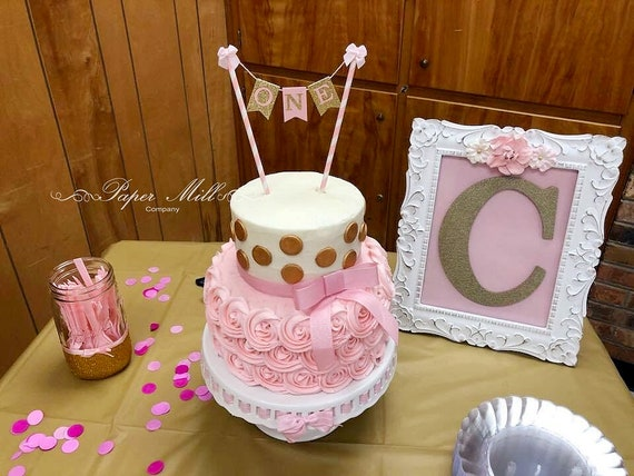 Pink Gold Glitter ONE Cake Bunting Topper SALE First