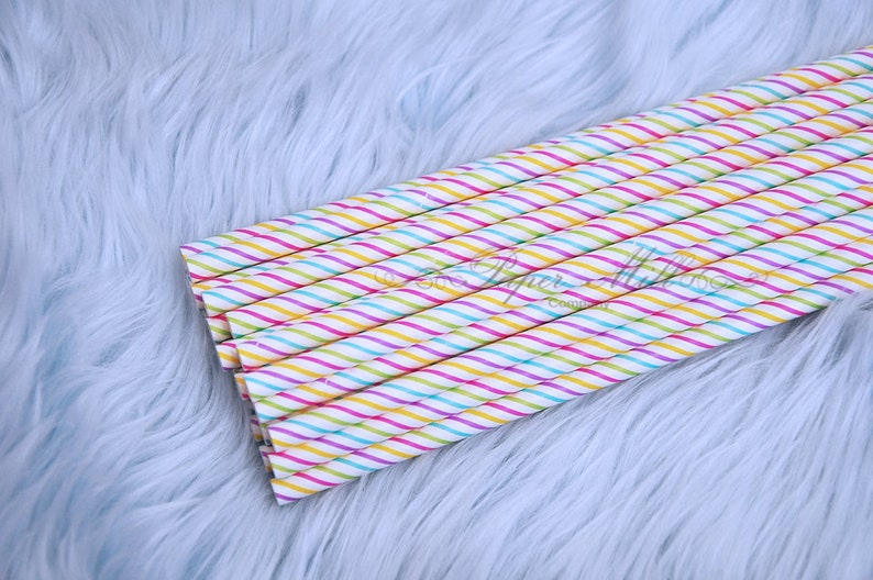 Paper Straws Unicorn Party Supplies Drink Straws Party Decor Pink and Purple Party Rainbow Stripes Color Stripes Paper Straws Birthday