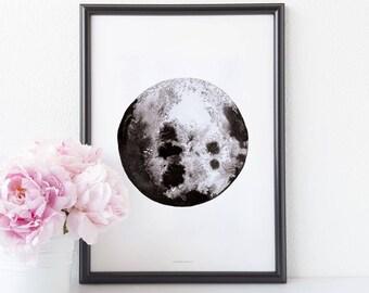 Art print Moon watercolor poster