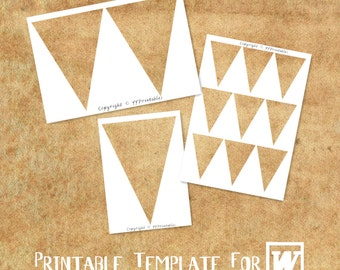 MICROSOFT WORD Compatible Printable Template: Triangle Bunting & Party Banner Flag Multi Size - DIY Party Printables