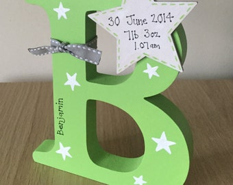 Personalised hand painted wooden letter green with stars