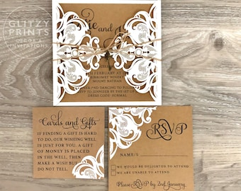 Key invitation etsy rustic wedding invitation laser cut invitation boho invitation key invitation kraft invitations key invitation engagement christening stopboris Choice Image