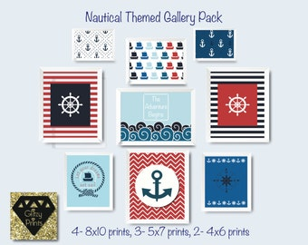 Nautical nursery print set Boy's room Nautical printable Modern Nursery Wall art download Gallery Nautical Print  includes 9 prints