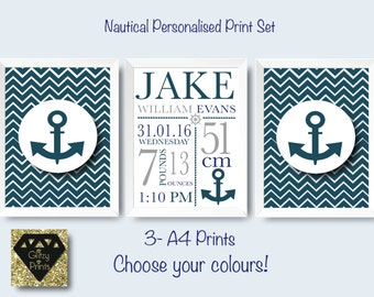 Personalised Nursery Print set /Nautical nursery print set / Boy's room prints / Baby Gift / Gallery Nautical Print  / Choose your colours!