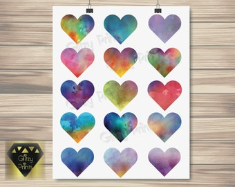 Watercolour Heart Print Instant Download,  Watercolor Print, Watercolour Heart Print, Nursery Print, Printable Wall Art, Colourful Print