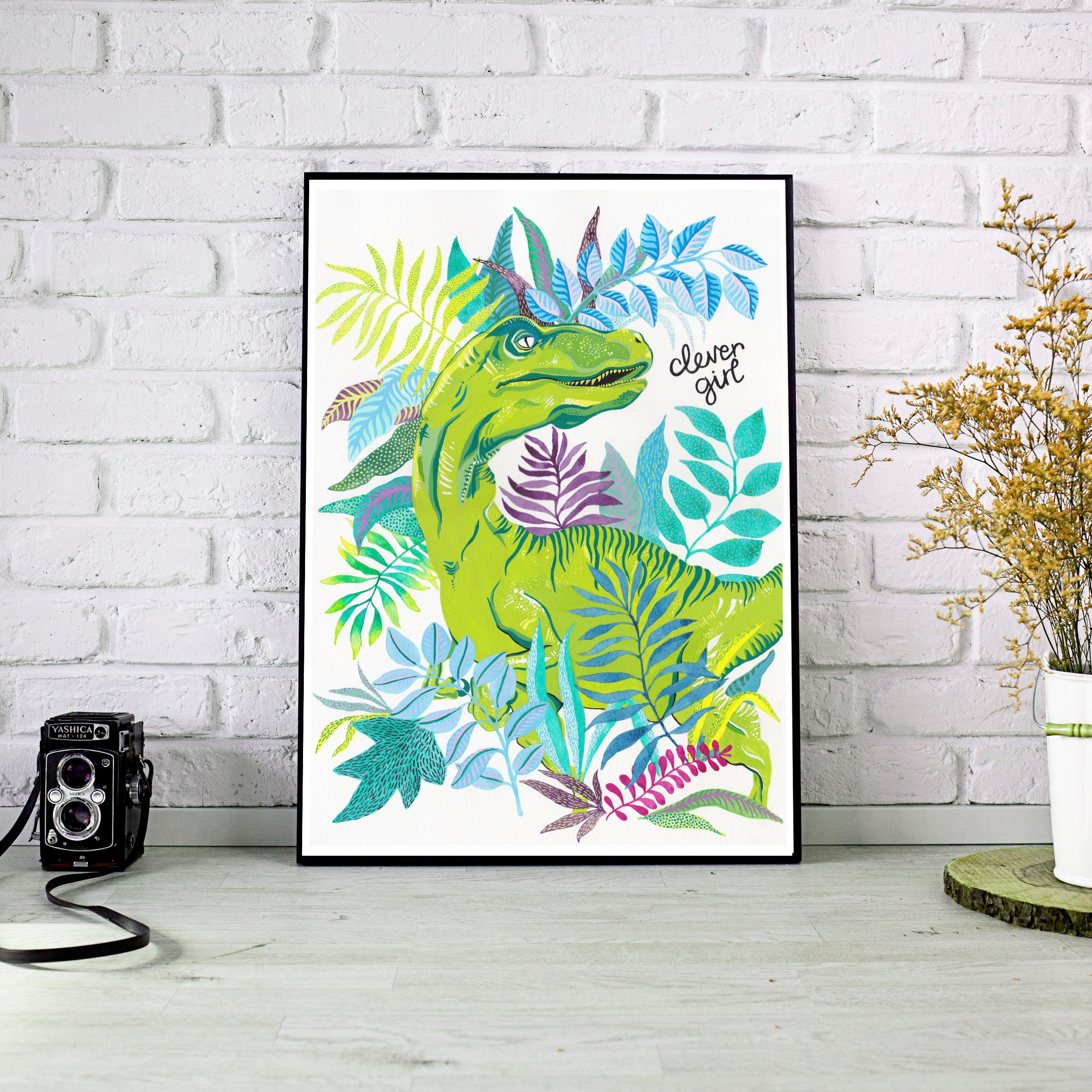 Clever girl velociraptor jurassic park dinosaur inspired quirky leafy hand drawn a4 a3 archival print poster wall art