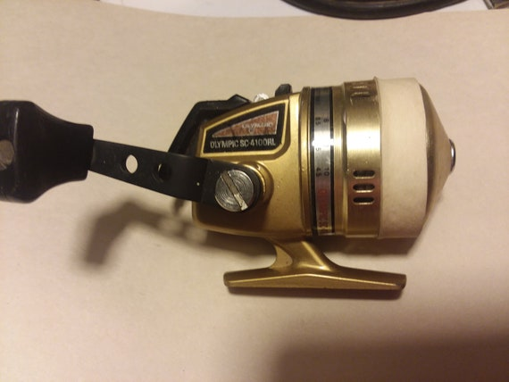 Vintage Rare Olympic Mod SC-4100RL Spincast Fishing Reel, Gold Works Great Japan