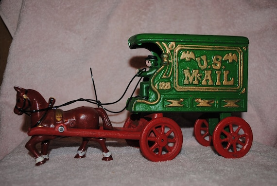 Cast Iron US MAIL Drawn Wagon Toy Horse & Driver 11''