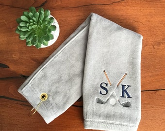 Personalized Golf Towel-Navy Initials