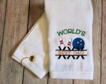 Bowling Pins, Ball and World's Best Dad Sport Towel