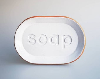 Soap Dish Handmade Terracotta Oblong Mini Tray Plate with letters stamped into surface
