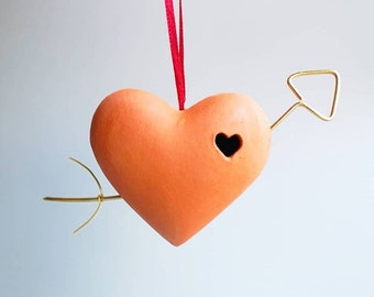 Heart with Golden Arrow Terracotta Bauble Tree Hanging Ornament × Profits in aid of NI Chest Heart & Stroke Charity