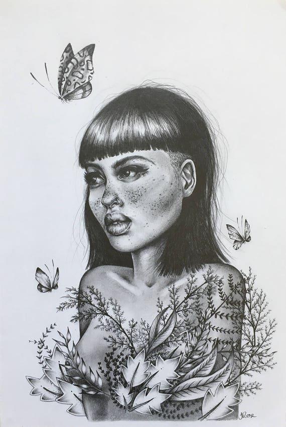 Imprimer Dessin De Fille De Fleur En Noir Et Blanc