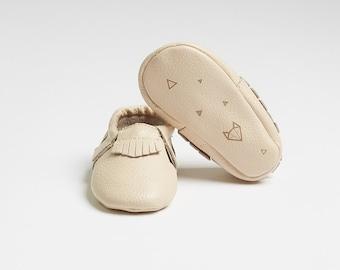 "Genuine Baby Leather Moccasins Cream ""Nuna"" - featuring geometric fox design"