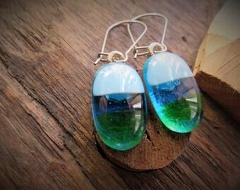 Green and Ocean Blue  Kiln Fused Glass Drop Earrings