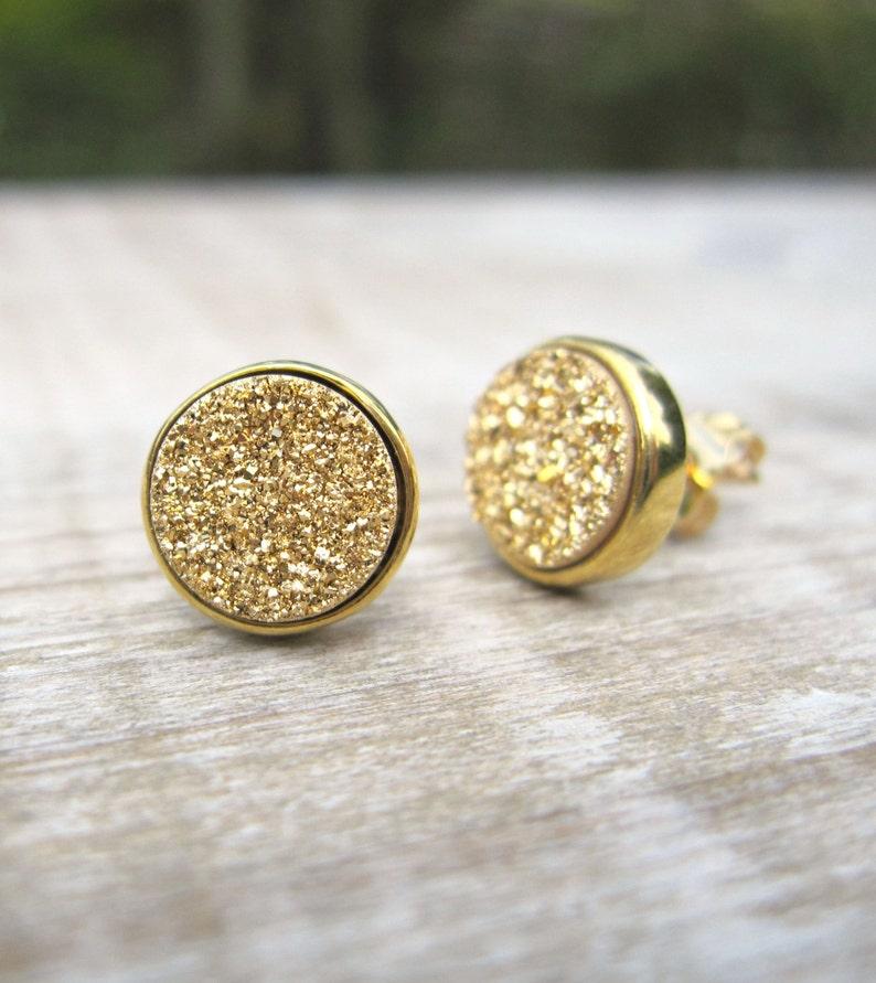8ff8a96c6 Gold druzy earrings druzy studs 18k gold plated earrings   Etsy