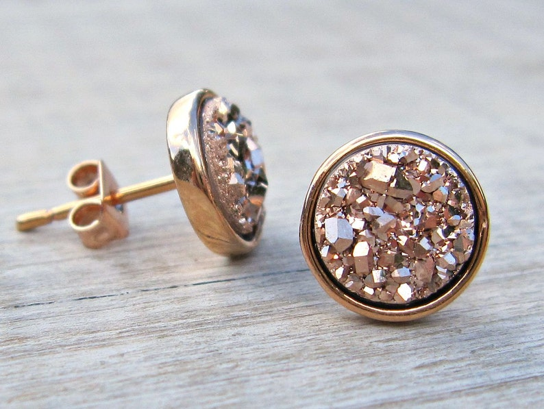 Bridesmaid gift rose gold druzy studs tiny stud earrings image 0