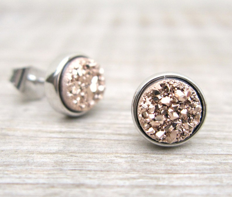 fc3382cfd Rose gold druzy studs bridesmaids gift druzy earrings tiny   Etsy