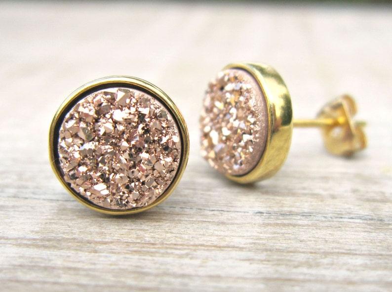 a493b288f Rose gold druzy studs druzy earrings bridesmaid jewelry   Etsy