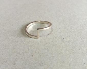 sterling silver ring, geometric, geometric ring, circle ring, Minimalist Ring, Modern Ring, Minimalist Jewelry, Geometric Jewelry