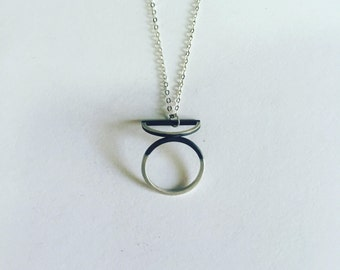 sterling silver necklace, geometric necklace, oxidized silver necklace, Minimalist necklace, Minimalist Jewelry, Geometric Jewelry