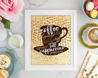 Gold Foil Coffee Mocha Cappuccino Grande Print, Kitchen Print, Food Quote, Vintage Art Print, typography, Wall Art, Coffee, Home Décor