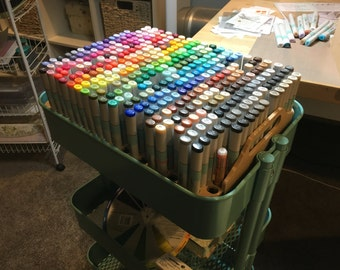 Copic Sketch Marker storage for IKEA Raskog cart (IKEA cart not included)