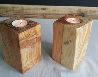 Handmade reclaimed wood candle holders for tealights