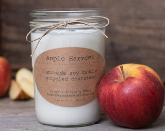 Apple Candle, Soy Wax Candle, Apple Soy Candle, Apple Harvest Candle, Natural Soy Candle, Fall Scented Candle, Soy Candle, Autumn Candle