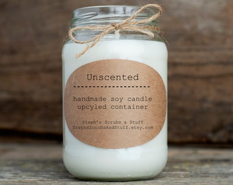 Unscented Soy Candle, Soy Wax Candle, No Scent Candle, Unscented Container Candle, Unscented Candle, Unscented Candles in Jars, Soy Candles