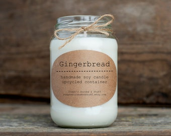 Gingerbread Soy Candle, Soy Wax Candle, Holiday Candle, Christmas Candle, Holiday Spice Candle, Cookie Scented Candle, Gingerbread Cookie