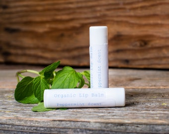 Organic Lip Balm, 2 pack, Natural Lip Balm, Lip Balm Tubes, Lip Balm Favors, Adult Stocking Stuffers, Beeswax Lip Balm