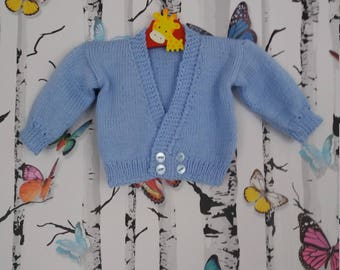 Boys Cardigan, 0 - 3 months, Knitted Cardigan, Handmade, Hand Knitted, Baby Boy, Boys Gift