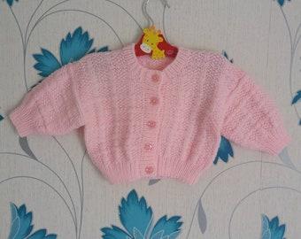 Pink Cardigan, Baby Girls Cardigan, 9 - 12 Months, Knitted Cardigan, Baby Girl, Handmade, Hand Knitted, Baby Shower Gift, Baby Gift