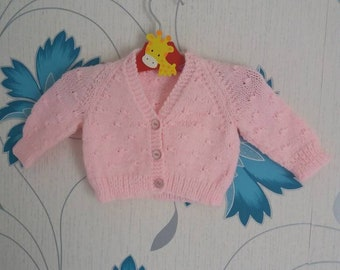 Pink Cardigan, 0 - 3 Months, Girls Cardigan, Baby Girl, Knitted Cardigan, handmade, Hand Knitted, Baby Shower Gift, Baby Gift, Baby Cardigan
