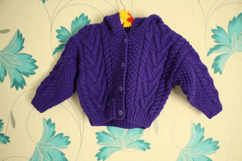 93d26a221 Purple Hooded Cardigan 1 2 Year Old Aran Cardigan Knitted