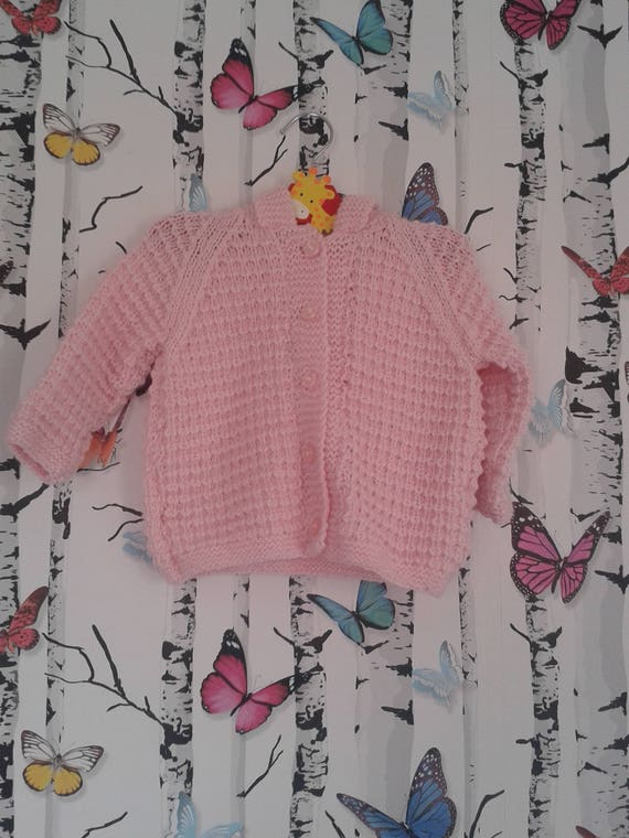 b6453249e SALE Pink Hooded Cardigan 2 3 Year Old Hand Knitted