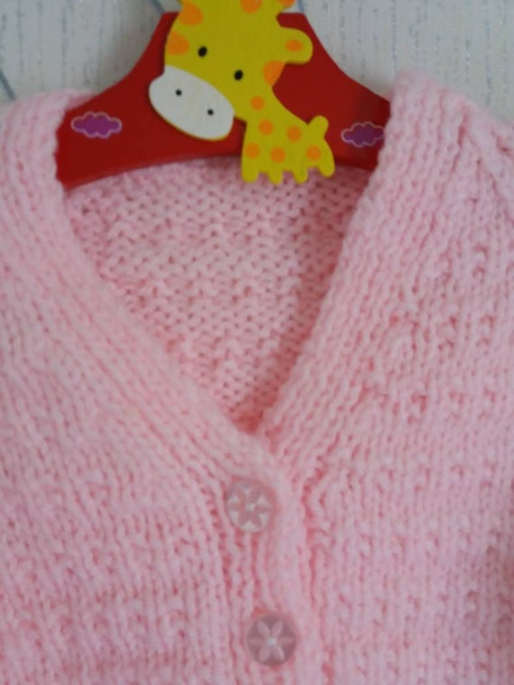 9dbbdc3fe Girls Pink Cardigan Baby Girl 3 6 Months Knitted