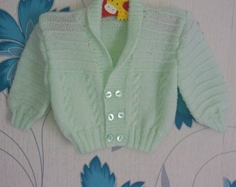 Boys Cardigan, 6 - 9 Months, Mint Cardigan, Knitted Cardigan, Handmade, Hand Knitted, Baby Gift, Baby Shower Gift, Baby Cardigan