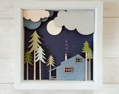 Cabin in the Woods Shadow Box - Wooden Cabin Diorama Picture