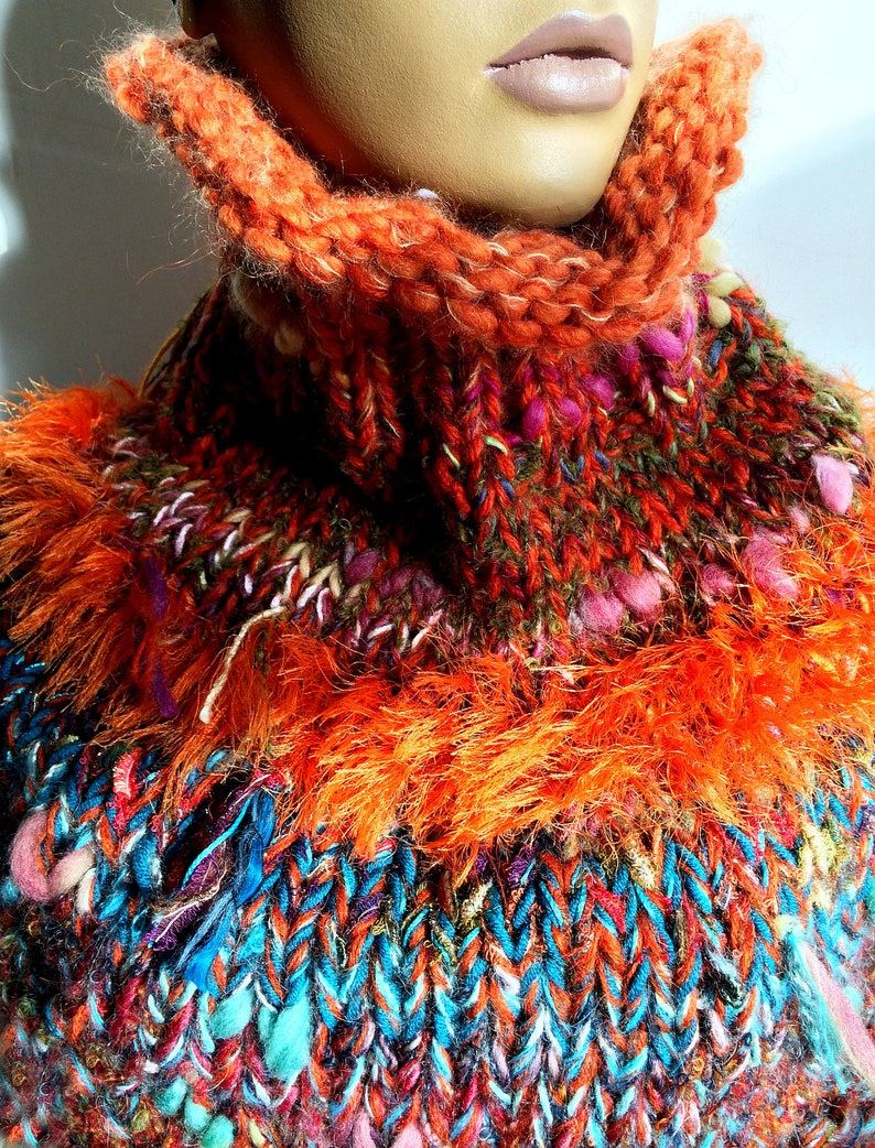 Capelet Shoulder warmer Mohair turtleneck scarf-tube Poncho Cowl Chunky Orange wrap with tassel Gift for her him