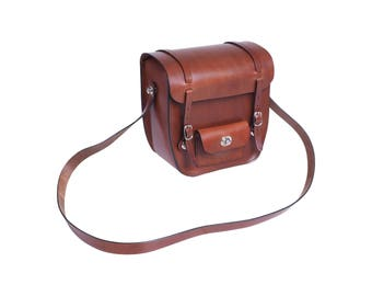 Handlebar bag made of genuine cowhide leather with strap