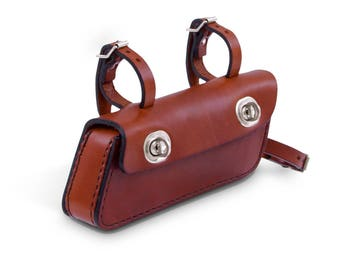 Bike bag made of genuine cowhide leather longitudinal