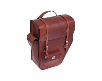 Great bike luggage bag made of genuine cowhide leather tour right