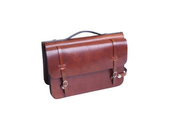 Office double bike bag made of genuine cowhide leather