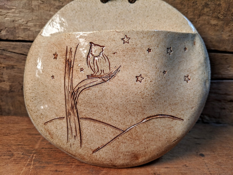 Ceramic Wall Art with Owl and Stars ~ Pocket Vase  Container  Air Plant Holder