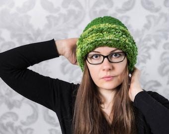 Green  hat, wool hat, warm hat, winter accessories